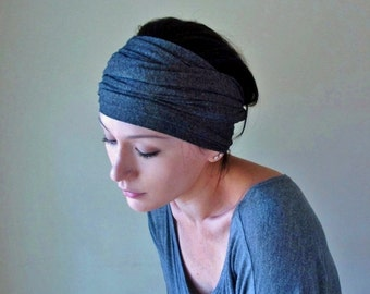 CHARCOAL GREY Hair Wrap - Extra Wide Headband - EcoShag Hair Accessories - Gray Yoga Head Scarf - Jersey Hair Accessory