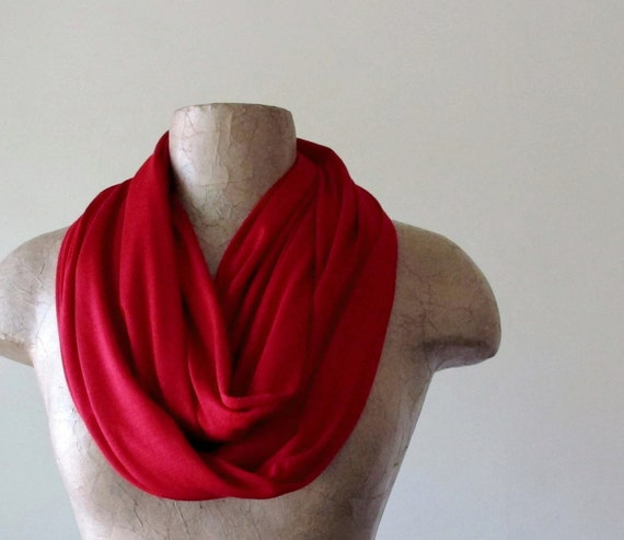 LIPSTICK RED Infinity Scarf - Ultra Lightweight Loop Scarf - Jersey Red Circle Scarf - Jewel Tone Tube Scarf