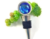 Dichroic Fused Glass Stainless Steel Wine Stopper Blue Green 125