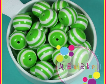 6 Pieces 20mm Green Striped Resin Gumball Style Beads DIY Crafts For Chunky Necklaces And Bracelets