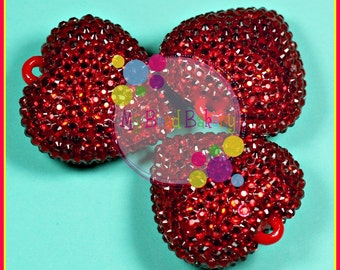 42mm Rhinestone Heart 1 Piece AB Red Pendant Bead DIY Crafts For Chunky Necklaces