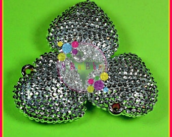 42mm Rhinestone Heart 1 Piece Silver Bling Pendant Bead DIY Crafts For Chunky Necklaces