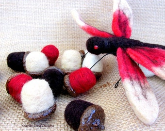 Felted Dragonfly, Brown and Red, Fiber Bug, Needle Felted Insect, Ornament