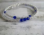 Silver/Cobalt Beaded Bracelets