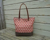 SALE - Linen and Canvas Tote Bag - Screen Printed With Leather Handles