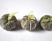 Lavender from France. Set of three mini pumpkins pillows. Fall fragrance gift .Cottage chic decor