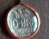 Vintage Bee Coin Pendant from Norway