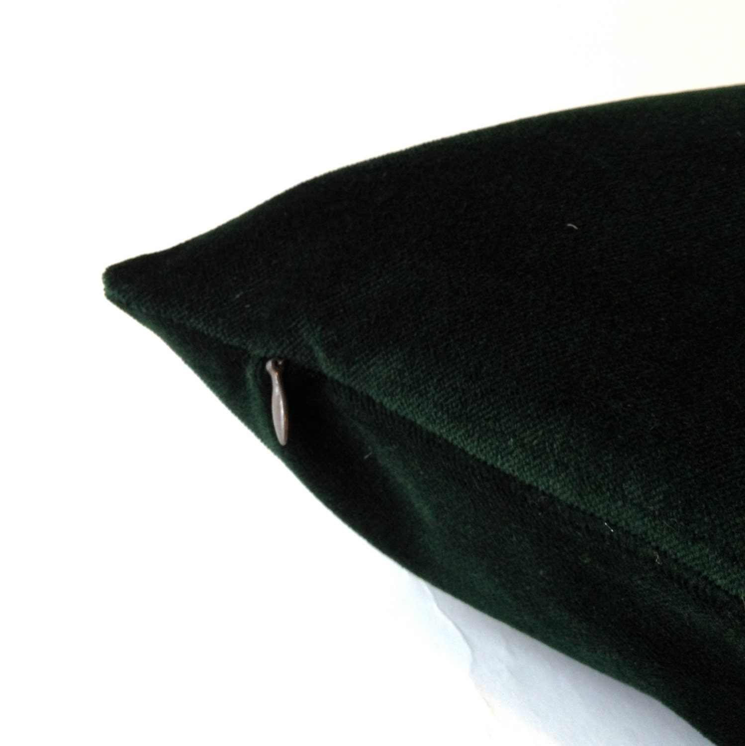 Hunter Green Cotton Velvet Pillow Cover - Decorative Accent Throw Pillows -Invisible Zipper ...