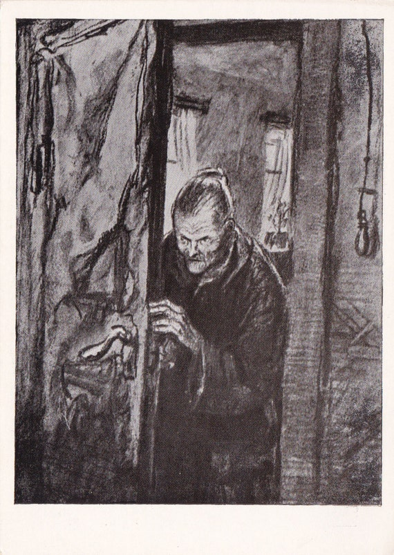 "Print Illustration -- Fyodor Dostoevsky ""Crime and Punishment"" no.3 - 1960"