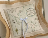 Custom Ring Bearer Pillow, Vintage Map Pillows, Personalized Gift, Custom Artwork