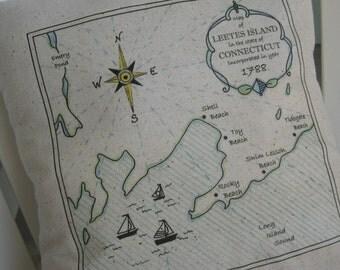 Leetes Island, Connecticut, Vintage Map Pillow, Compass, Blue Pillows, Nautical, Beach House, Cottage, Ocean