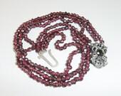 SALE // Antique Bohemian Garnet Collar Necklace, Very Short Choker.