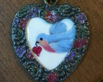 Heart and Blue Bird Necklace