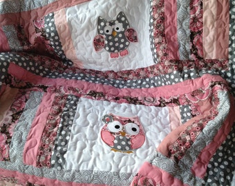 Grey, pink, and mauve baby girl owl quilt