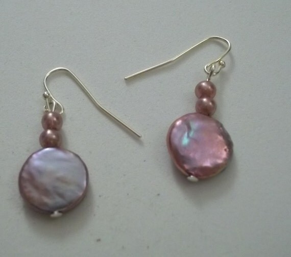pink shell made earrings