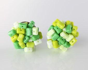 Pistachio Lime Earrings, Green glass beaded Earrings, West germany vintage Mod jewelry