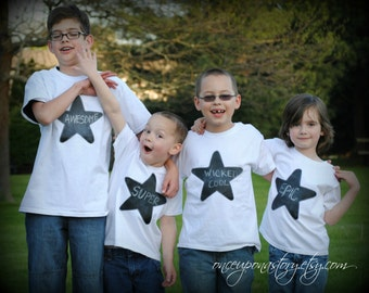 Chalkboard star kids t-shirt, Write your own message