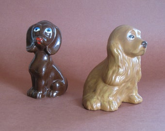 Vintage Brown Dog Figurine Collection - set of two