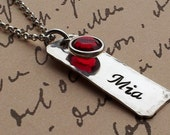 Personalized Charm Mommy necklace Sterling Sterling Silver Rectangle with swarovski birthstone drop
