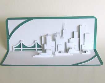 SAN FRANCISCO SKYLINE Pop Up 3D Card Home Decoration Origamic Architecture Hand Cut in White and Green. Folds Flat. Unique Impressive Gift