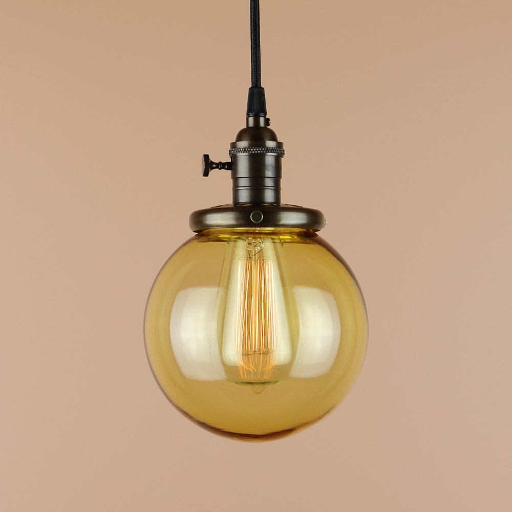 Pendant Light 6 Inch Amber Glass Globe Antique