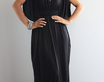 Long Black Funky Kimono Butterfly Tube Maxi Dress: Elegant Collection
