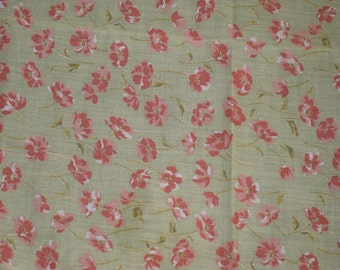 Vintage Green  with Pink Floral Design Fabric, Vintage Textiles, Vintage Material, Vintage Cotton Blend Fabric