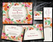 Free Gift - Printable / Digital Boho Floral Wedding Invitation Suite with Stripes / Custom color / DIY Weddings / Style 00102WS5