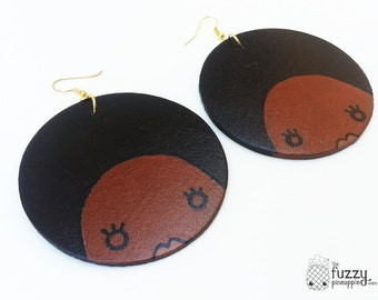Cinnamon Afro Chic Earrings by The Fuzzy Pineapple Hand Painted