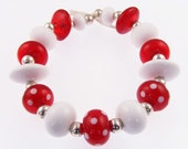 15 Handmade Lampwork Glass Beads - Red& White