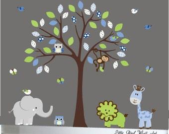 Childrens tree wall decal jungle nursery set safari - 116