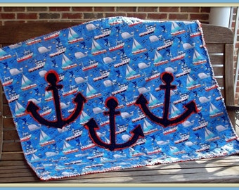 Anchors Away baby quilt pdf pattern