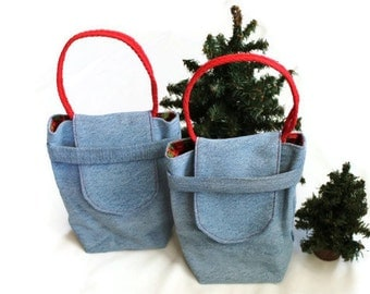 Christmas Plaid Gift Bags Reusable Upcycled Denim Small Tote Vintage Red Green Black Holiday Wrapping (set of 2) 7in --US Shipping Included