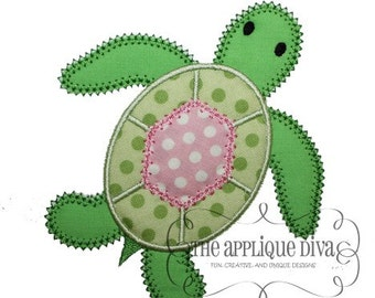 Summer Sea Tutle Digital Embroidery Design Machine Applique