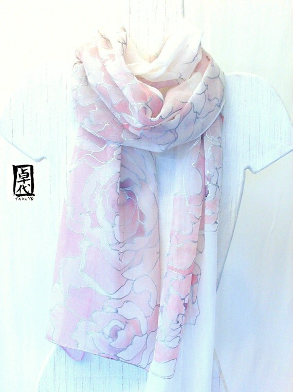 Hand Painted Silk Scarf, White Scarf, Pastel Pink Peonies, Wedding Scarf, Silk Chiffon Scarf, Floral Silk Scarf, 11x90 inches. Made to Order