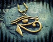 Buy 2 or more get 15% off -- Eye Of Horus Egyptian Pendant Charm antique bronze Ball Chain Necklace