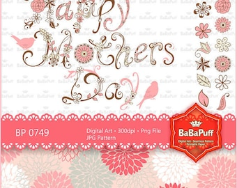 Digital Mothers Day Flowers Clip Art, Personal and Small Commercial Use. BP 0749