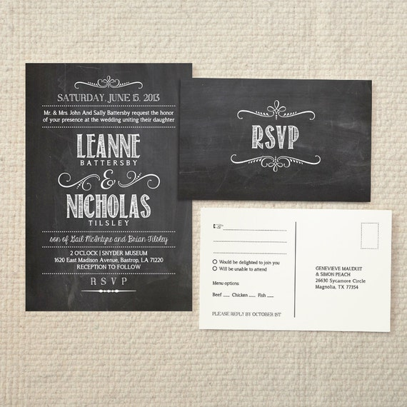 Chalkboard Wedding Invitation Template: Wedding Invitation & Reply Handlettered By AmyAdamsPrintables