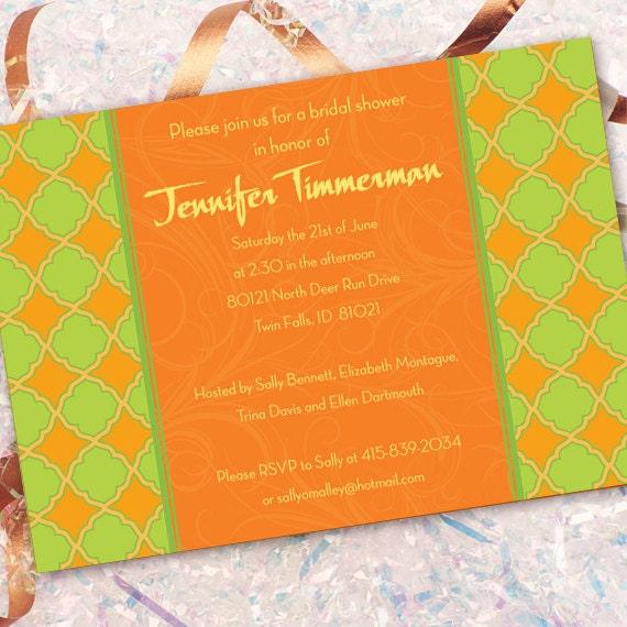 bridal shower invitations, tangerine bridal shower invitations, lime green bridal shower invitations, bachelorette party invitations, IN187