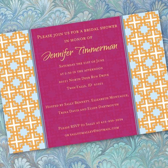 bridal shower invitations, fuchsia and tangerine bridal shower invitations, hot pink party invitations, hot pink summer party, IN192