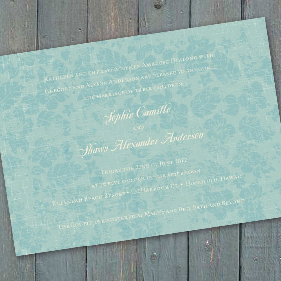 wedding invitations, aqua bridal shower invitations, aqua bridal shower, Caribbean blue party invitations, hibiscus invitations, IN201