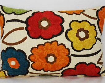 Decorative Pillow Richloom Pia Large Floral Print Red Blue Green Yellow Lumbar Pillow Cover 12x18