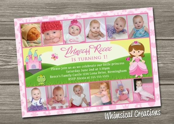 Items similar to Princess 1st Birthday Invitation 12 photos – Princess 1st Birthday Invitations