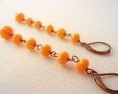 Bright sunshine dangle earrings - beaded Czech glass earrings, yellow and orange springtime jewelry