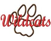 Wildcats - Paw Print - Applique - Machine Embroidery Design -  10 sizes