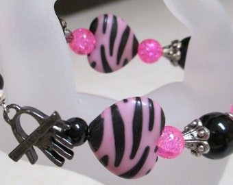 Animal Print Zebra Hot Pink Heart Bracelet