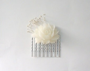 Romantic Bridal, Bridesmaid, and Flower Girl Hair Comb- White
