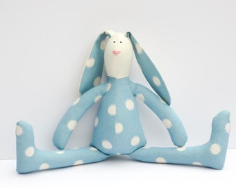 Stuffed bunny rabbit hare plush rabbit bunny doll blue polka dots cute softie Easter bunny stuffed toy gift for boy and girl