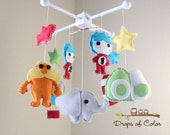 "Baby Crib Mobile - Baby Mobile - Dr. Seuss Mobile ""Inspired by Dr. Seuss Story Books"" Cat in the Hat, Green Eggs and Ham, Lorax, Horton"