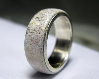 Antler Band Ring Lined with Sterling Silver